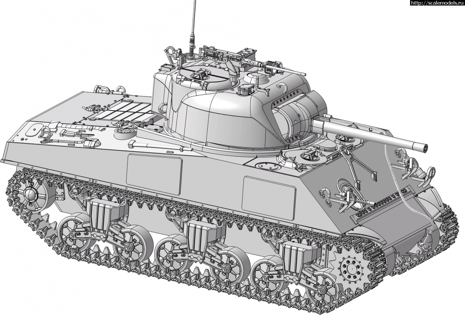 Анонс Звезда 1/35 средний танк M4А2(75) Sherman - 3D-рендеры Закрыть окно
